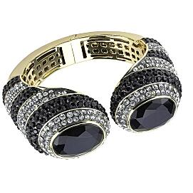 Gold Brass Bangle with Synthetic in Jet