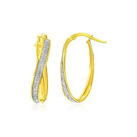 Gold Oval Hoop Twist Glittery Earrings