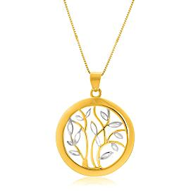 Gold Pendant with an Open Round Tree Design