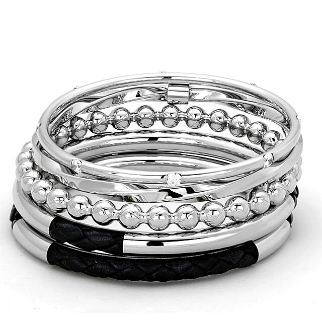 High polished (no plating) Stainless Steel Bangle with AAA Grade CZ  in Clear